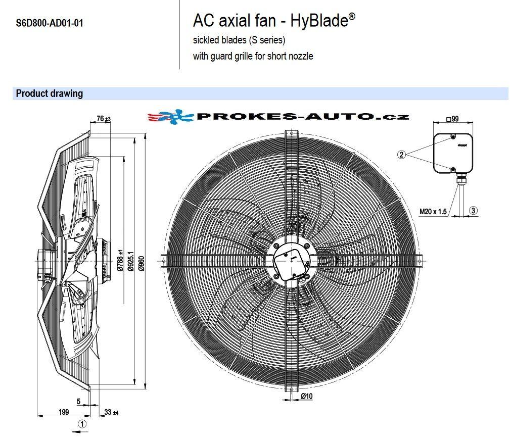 EBM PAPST ventilátor sacia 800 mm 400V 6 pólový S6D800-AD01-01 / S6D800-CD01-01