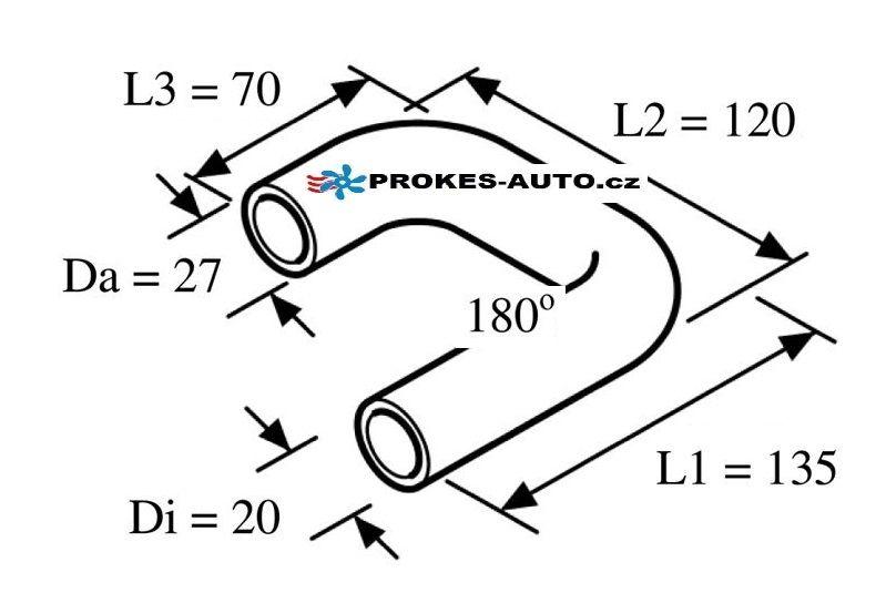 Tvarovaná vodné hadice 180° 20mm 135/70/120 / 98452 Webasto