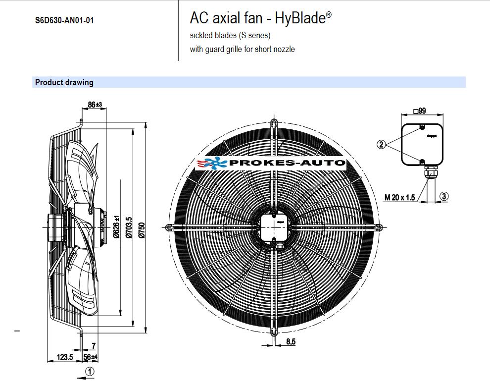 EBM PAPST ventilátor sacia 630 mm 400V 6 pólový S4D630-AH01-01