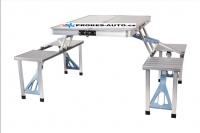 Kempingový skladací stôl s lavicami