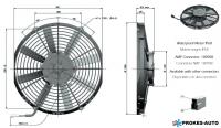 Ventilátor GENERAL CAB 12V sacie 305mm 2156 m3/h