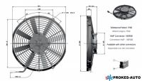 Ventilátor GENERAL CAB 12V sacie 305mm 2239 m3 / h